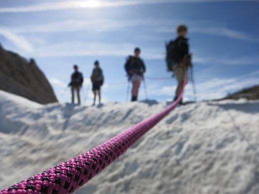 De gletsjer op met de kinderen. Een prachtig stukje alpinisme!