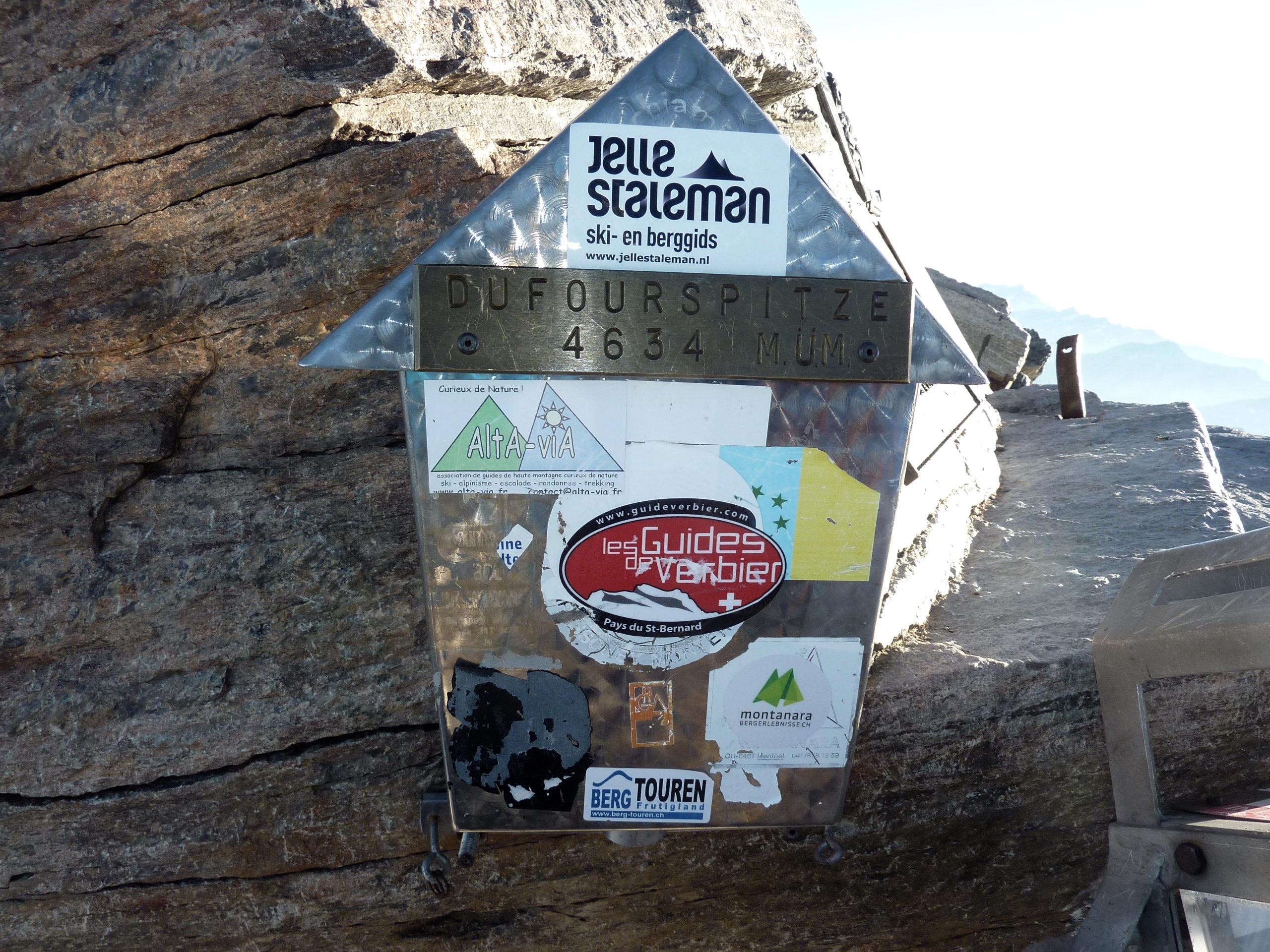 Gipfelbuch Dufourspitze