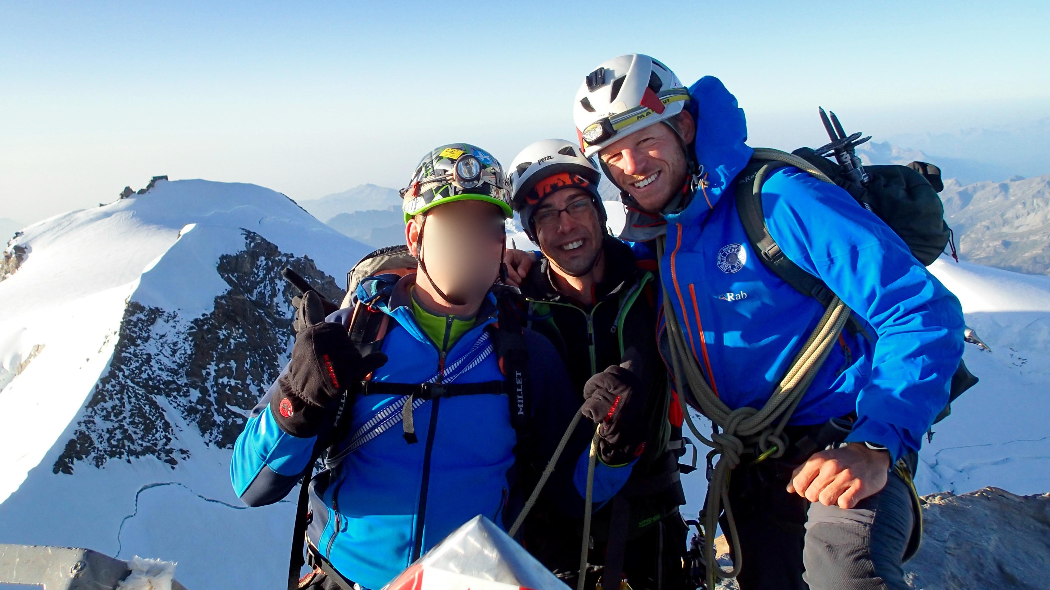 Blije gezichten op de top van de Dufourspitze!